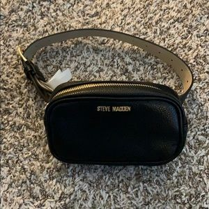 Steve Madden Black faux leather belt purse